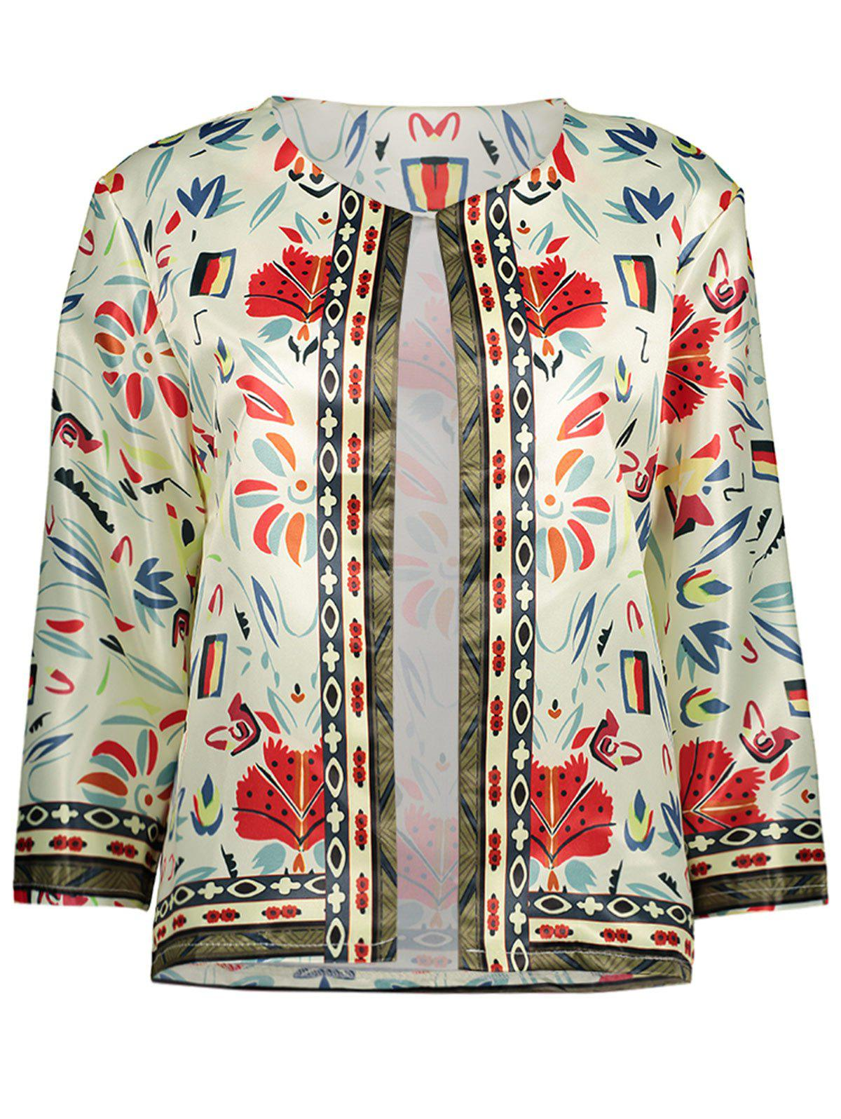 Outfit Collarless Floral Printed Blazer