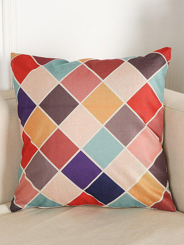 Colorful Plaid Sofa Bed Throw Linen Pillow CaseHOME<br><br>Color: COLORMIX; Material: Linen; Pattern: Plaid; Style: Modern/Contemporary; Shape: Square; Size(CM): 45*45; Weight: 0.110kg; Package Contents: 1 x Pillow Case;