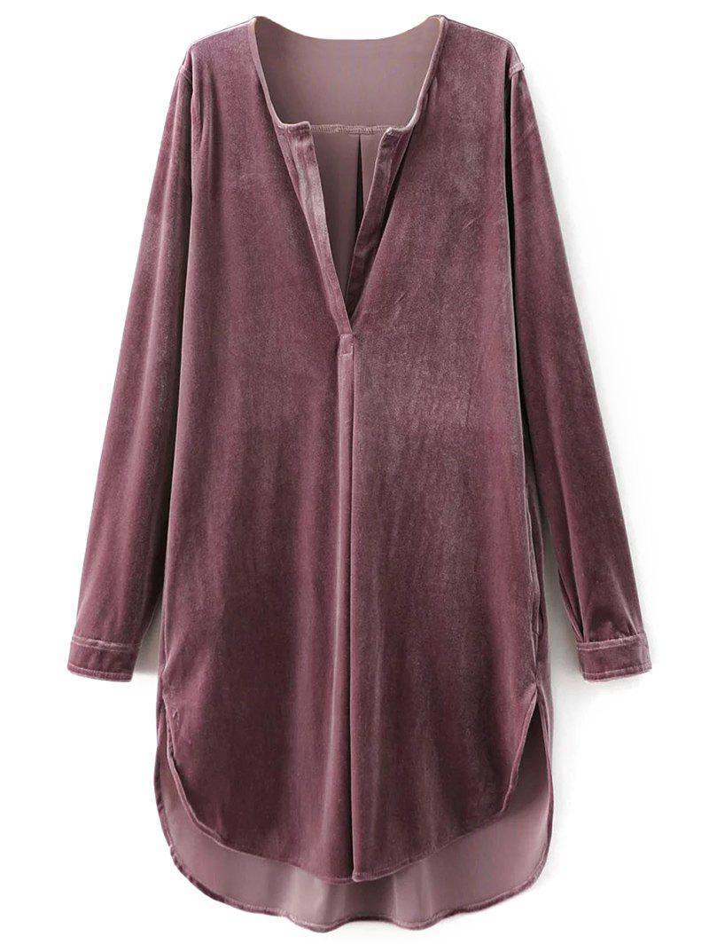 V Neck Long Sleeve Velvet Tunic Shift DressWOMEN<br><br>Size: L; Color: PINK SMOKE; Style: Brief; Material: Cotton,Polyester; Fabric Type: Velour; Silhouette: A-Line; Dresses Length: Knee-Length; Neckline: V-Neck; Sleeve Length: Long Sleeves; Pattern Type: Solid; With Belt: No; Season: Fall,Spring,Winter; Weight: 0.4200kg; Package Contents: 1 x Dress;