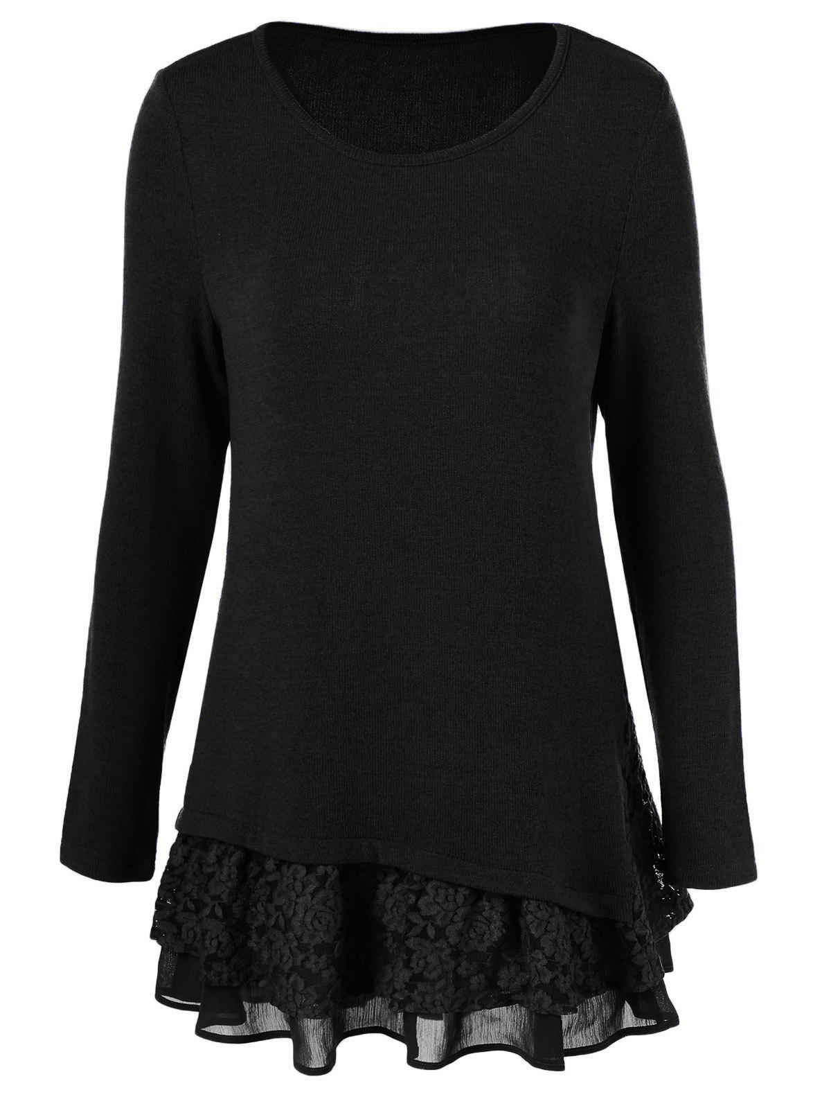 Cheap Long Sleeve Floral Lace Trim T-Shirt