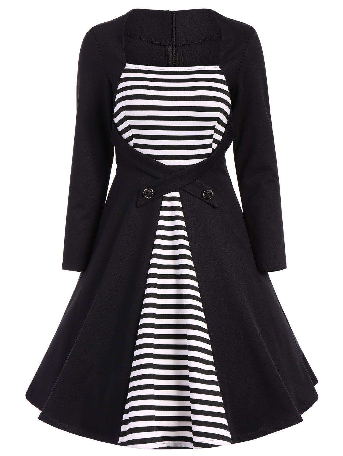 Outfit Plus Size Square Collar Striped Skater Dress with Long Sleeves