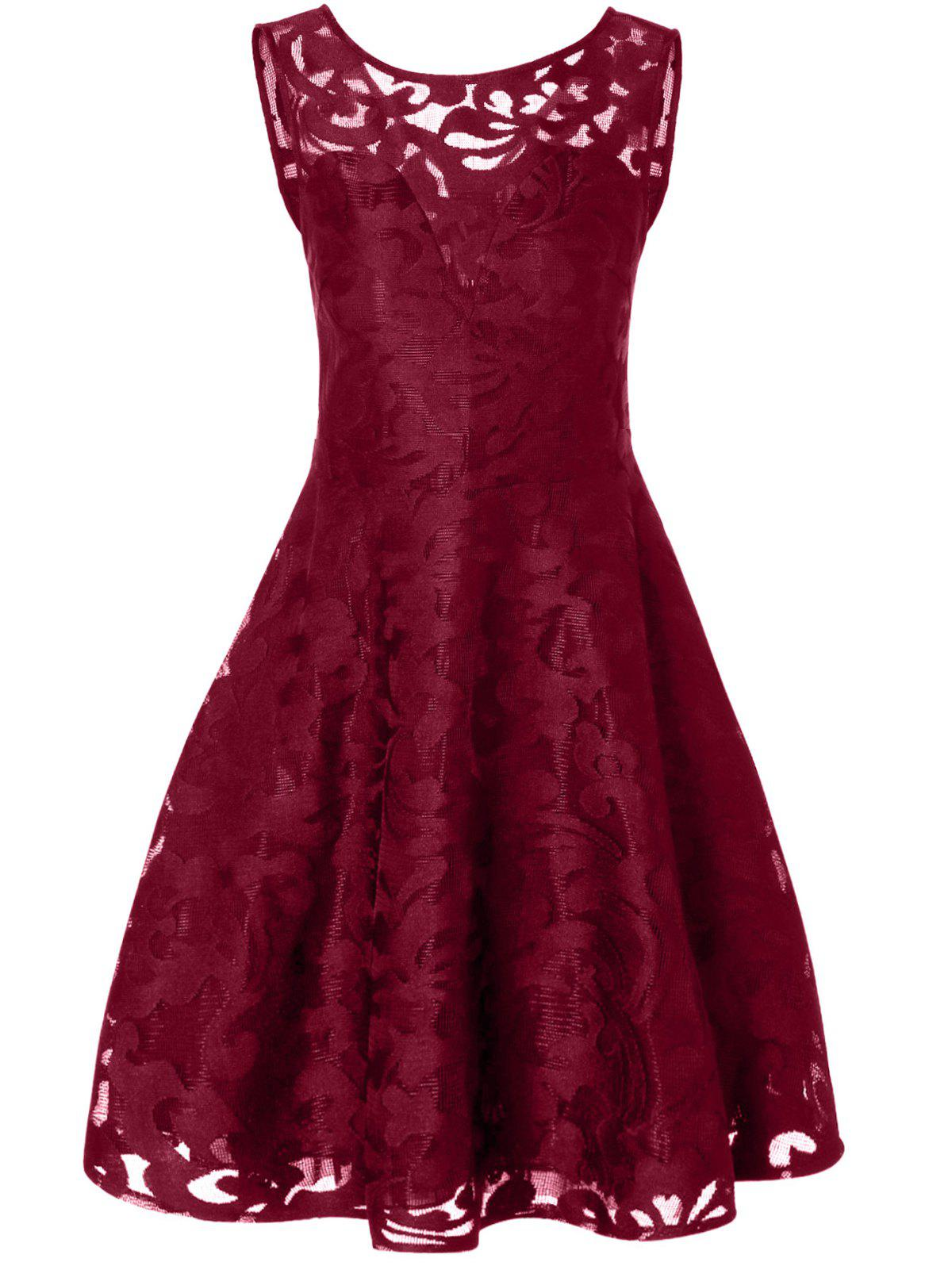 Lace Plus Size Holiday Short Cocktail DressWOMEN<br><br>Size: 4XL; Color: BURGUNDY; Style: Vintage; Material: Polyester; Silhouette: A-Line; Dresses Length: Mid-Calf; Neckline: Round Collar; Sleeve Length: Sleeveless; Pattern Type: Solid; With Belt: No; Season: Fall; Weight: 0.2570kg; Package Contents: 1 x Dress;