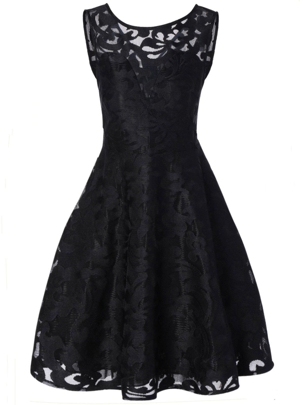 Lace Plus Size Holiday Short Cocktail DressWOMEN<br><br>Size: 5XL; Color: BLACK; Style: Vintage; Material: Polyester; Silhouette: A-Line; Dresses Length: Mid-Calf; Neckline: Round Collar; Sleeve Length: Sleeveless; Pattern Type: Solid; With Belt: No; Season: Fall; Weight: 0.2570kg; Package Contents: 1 x Dress;