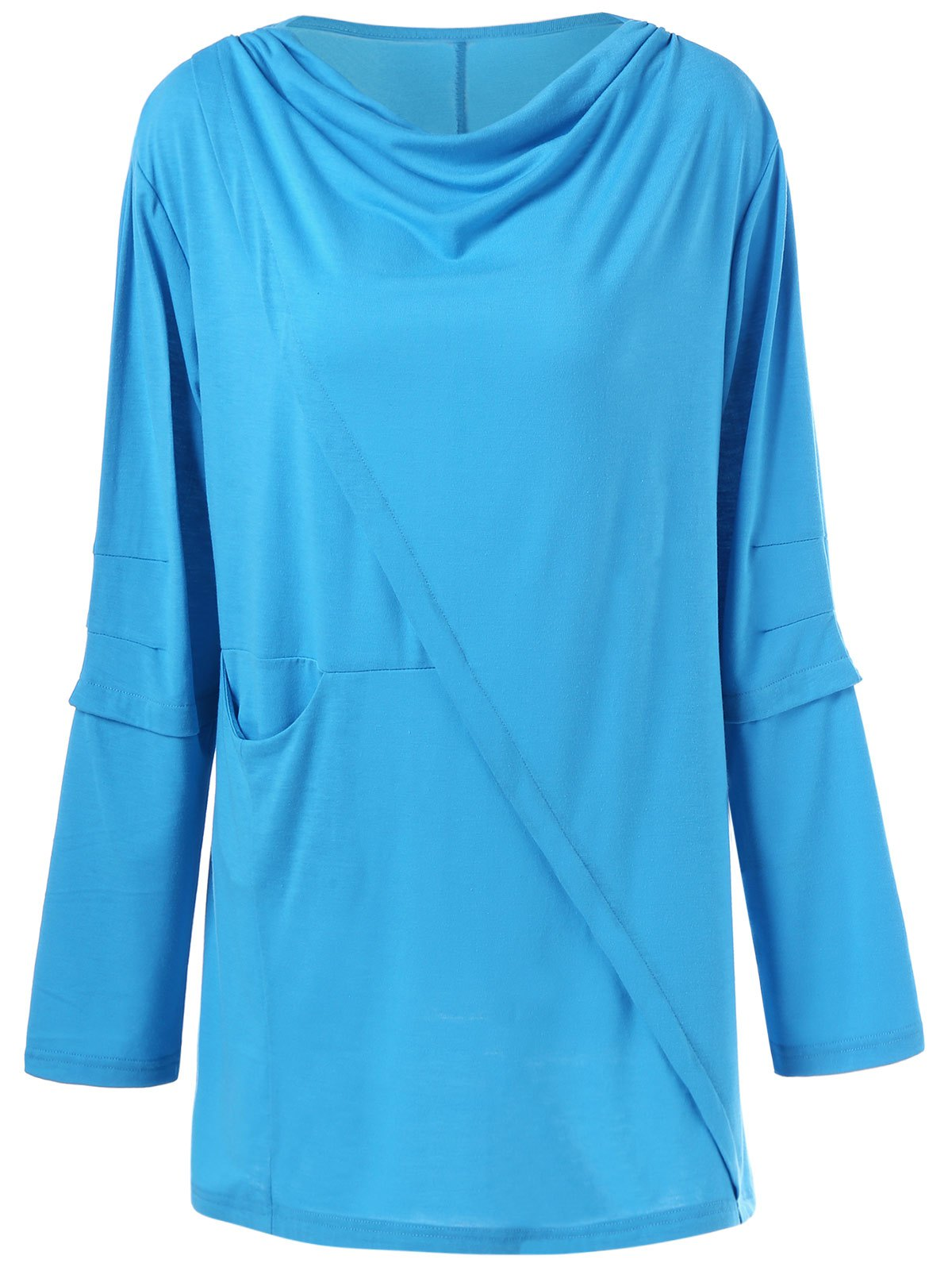Trendy Draped Pleated Plus Size Tunic Top