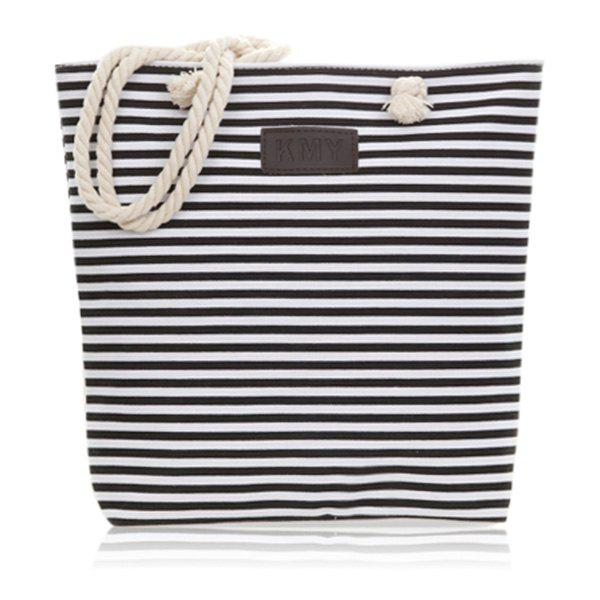 Fancy Canvas Striped Beach Bag