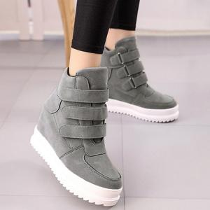 Stitching Hidden Wedge Ankle Boots - GRAY 38