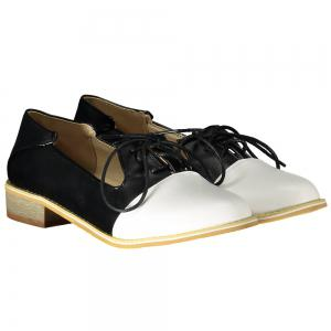 Sweet Color Block and Lace-Up Design Women's Flat Shoes - BLACK 39