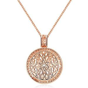 Floral Filigree Round Pendant Necklace