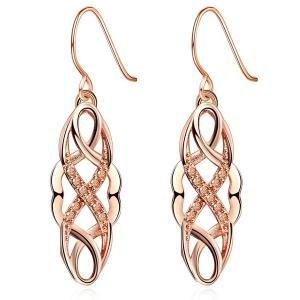 Rhinestone Cirrus Drop Earrings - Rose Gold