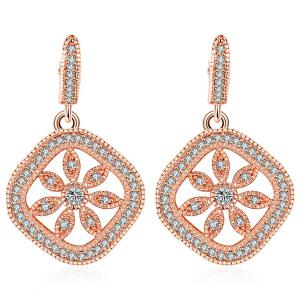 Rhinestone Hollowed Floral Drop Earrings - Rose Gold - One-size