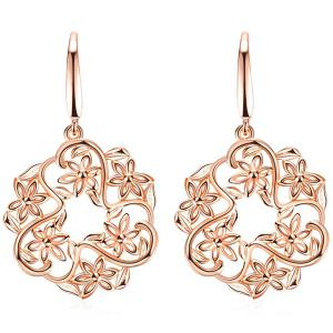 Hollowed Floral Drop Earrings - Rose Gold - One-size