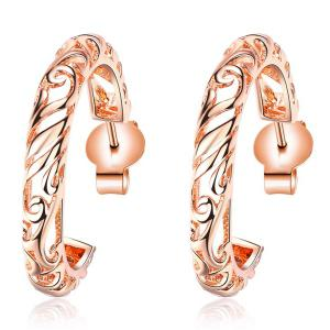 Round Hollow Out Earrings - Rose Gold