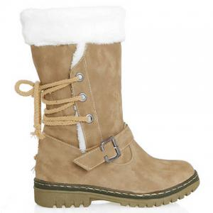 Vintage Suede and Buckle Design Women's Boots - KHAKI 35