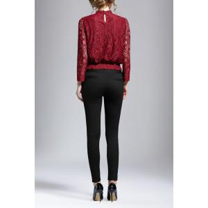 Stand Collar Lace Long Sleeve Top - WINE RED XL