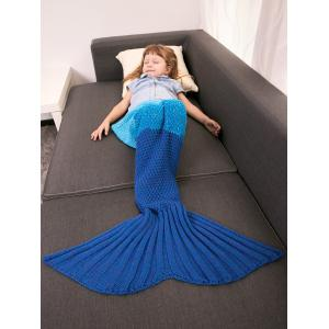Color Block Warm Mermaid Free Knitted Blankets For Kids -