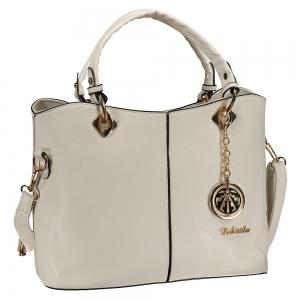 Fashion PU Leather and Pendant Design Women's Tote Bag - OFF WHITE