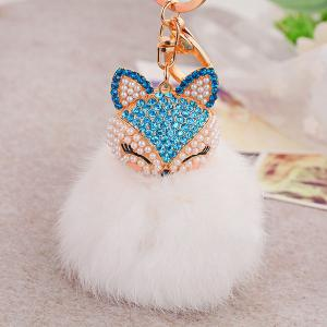 Fake Pearl Rhinestone Fox Fuzzy Puff Ball Keychain - BLUE