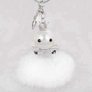 Rhinestone Artificial Pearl Fuzzy Clip Ball Keychain - Silver And White - Style 4