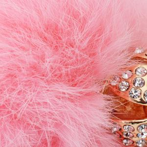 Rhinestone Crown Fuzzy Puff Ball Keychain - PINK