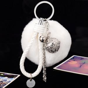 Artificial Leather Rope Fuzzy Ball Keychain - White