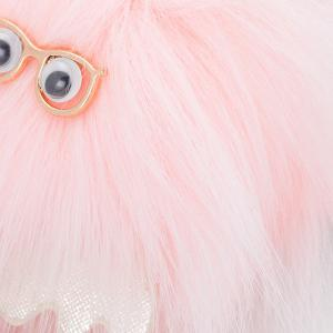 Cartoon Fuzzy Puff Ball Keychain - PINK