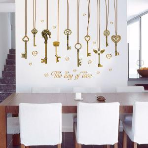 The Key of Love Pendant Removable PVC Wall Stickers - BRONZE-COLORED