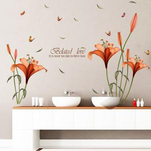 Removable Butterfly Flower Wall Stickers For Bedrooms - Orange Red - S