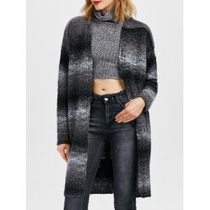 Collarless Knit Open Front Cardigan