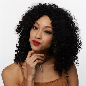 Medium Afro Curly Side Bang Synthetic Wig -