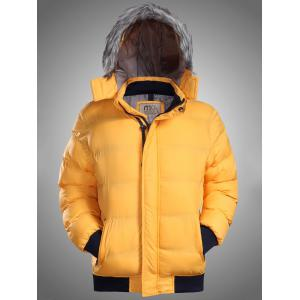Furry Hood Rib Panel Zip Up Padded Jacket