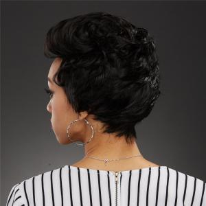 Fluffy Curly Capless Stylish Black Side Bang Synthetic Wig For Women - BLACK