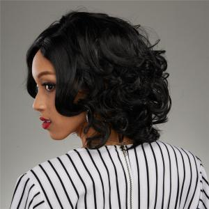 Faddish Short Side Parting Curly Heat Resistant Fiber Wig -