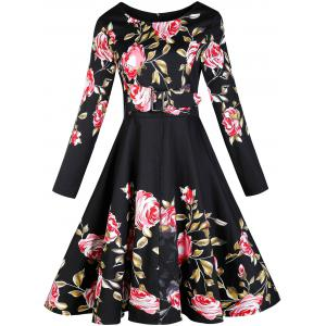 Vintage Floral Long Sleeve A Line Dress - Black - S