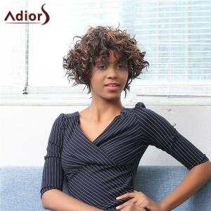 Adiors Short Oblique Bang Highlight Afro Curly Synthetic Wig