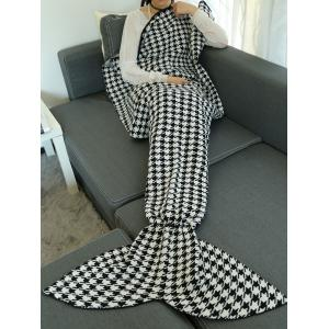 Houndstooth Design Knitted Wrap Throw Mermaid Tail Blanket - Black - 150*90cm