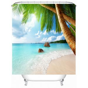 Sea Beach Waterproof Shower Curtain with Hooks
