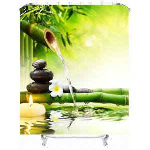 Nature Scenery Waterproof Bathroom Shower Curtain - Yellow Green - W59 Inch * L51 Inch