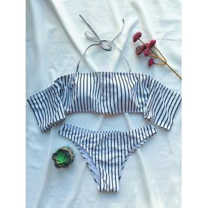 Striped Off The Shoulder Bikini Set - White - S