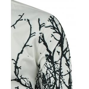 Turndown Collar Tree Branch Printed Shirt -