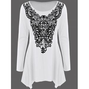 Long Sleeve Abstract Print Asymmetrical Tee - White - M