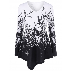 Branch Print Asymmetrical T-Shirt