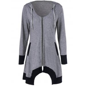 Zip Up Asymmetrical Hooded Tee - Black And Grey - 2xl