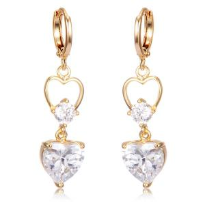 Faux Crystal Heart Drop Earrings