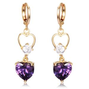 Faux Crystal Heart Drop Earrings - Purple