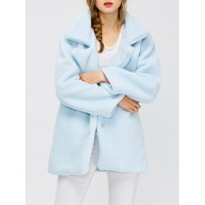Fuzzy Buttoned Coat - Light Blue - S