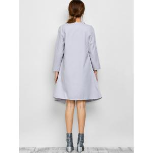 A Line Long Draped Trench Coat - GREY WHITE M