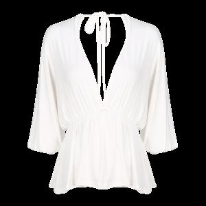 Plunging Neck Dolman Sleeve Shirred Blouse