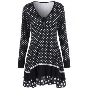 Polka Dot Ruffled Longline T-Shirt