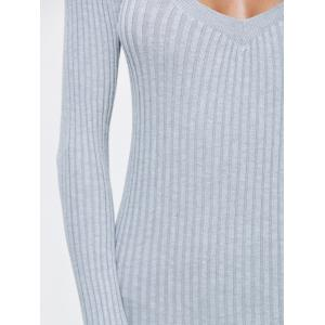 Side Slit Bodycon Ribbed Sweater Dress - Gris TAILLE MOYENNE