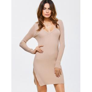 Side Slit Bodycon Ribbed Sweater Dress - Abricot TAILLE MOYENNE